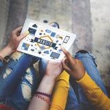 Concept en ligne d'Internet de connexion de WWW de site Web Photographie stock