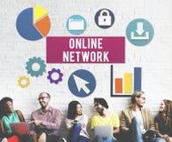 Concept en ligne d'Internet de connexion réseau Photo libre de droits