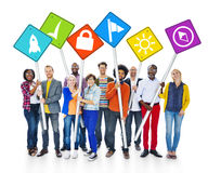 Concept en ligne de bannière de personnes de conception de Web sensible d'Internet image stock