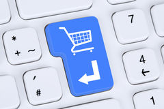 Concept en ligne de boutique d'Internet de commerce électronique d'ordre d'achats images libres de droits
