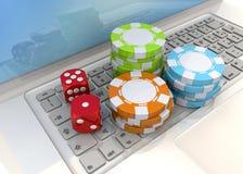 Concept en ligne de casino - 3D Images stock