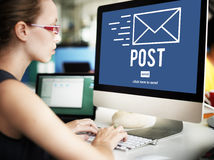 Concept en ligne de communication de message de correspondance de courrier de courrier photos stock