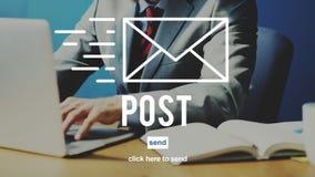 Concept en ligne de communication de message de correspondance de courrier de courrier photo stock