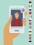 Concept en ligne de connaissance des langues Photos stock