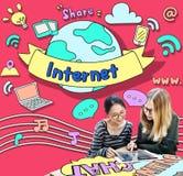 Concept en ligne de connexion de communication d'Internet Images stock