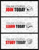 Concept en ligne de cours avec le style de conception de griffonnage d'affaires illustration libre de droits