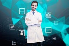 Concept en ligne de médecine avec le docteur Photographie stock