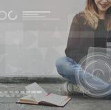 Concept en ligne de médias de mise en réseau de connexion de technologie Photo libre de droits
