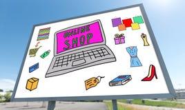 Concept en ligne de magasin sur un panneau d'affichage image libre de droits