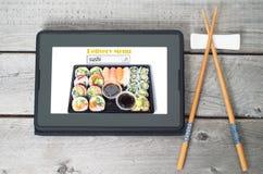 Concept en ligne de menu de la livraison de sushi Photographie stock