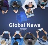Concept en ligne de mise à jour de technologie d'actualités globales Photographie stock