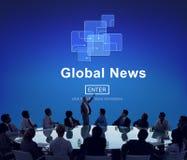 Concept en ligne de mise à jour de technologie d'actualités globales images stock