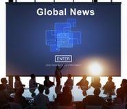 Concept en ligne de mise à jour de technologie d'actualités globales images libres de droits