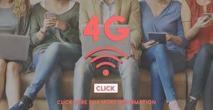 concept en ligne de mise en réseau sans fil de l'Internet 4G Image libre de droits
