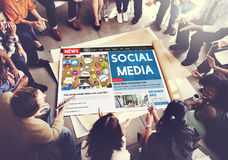Concept en ligne de mise en réseau sociale de Media Communication Photographie stock libre de droits