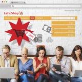 Concept en ligne de promotion des ventes de vente d'achats Images libres de droits