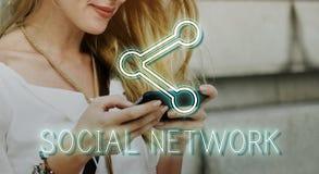 Concept en ligne de réseau de connexion de communication Photos libres de droits