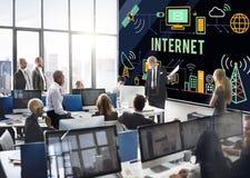 Concept en ligne de réseau de technologie de connexion internet Images libres de droits