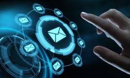 Concept en ligne de réseau de technologie d'Internet d'affaires de causerie de communication de courrier d'email de message photo stock