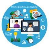 Concept en ligne de service de conseil de clientèle Images libres de droits