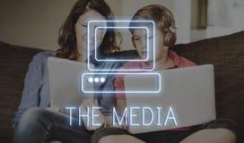 Concept en ligne de site Web de Technolgoy de media Photos stock