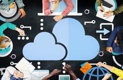 Concept en ligne de stockage d'Internet de réseau informatique de nuage Images libres de droits