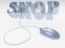 Concept en ligne de système d'Internet et souris d'ordinateur Images libres de droits