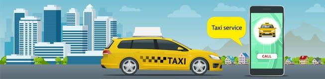 Concept en ligne de Taxi-service L'homme commande un taxi de son téléphone portable Application de service de taxi sur l'écran Af Illustration Stock