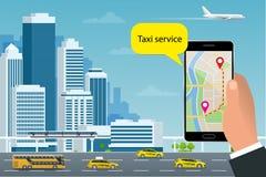 Concept en ligne de Taxi-service L'homme commande un taxi de son téléphone portable Application de service de taxi sur l'écran Af Illustration de Vecteur
