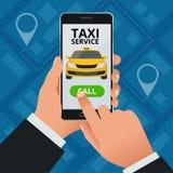 Concept en ligne de Taxi-service L'homme commande un taxi de son téléphone portable Application de service de taxi sur l'écran Af Illustration Libre de Droits