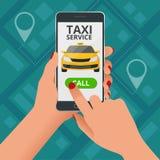 Concept en ligne de Taxi-service La femme commande un taxi de son téléphone portable Application de service de taxi sur l'écran V Illustration de Vecteur