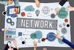 Concept en ligne de technologie d'Internet de connexion réseau photos libres de droits
