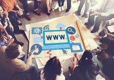 Concept en ligne de technologie de connexion de réseau de WWW Photos stock