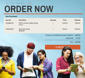 Concept en ligne de technologie de site Web d'achats de commerce électronique Photographie stock