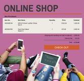 Concept en ligne de technologie de site Web d'achats de commerce électronique Photos libres de droits