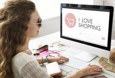Concept en ligne de vente de page d'accueil de boutique de commerce électronique Images stock