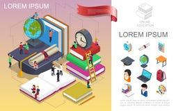 Concept en ligne isométrique d'éducation illustration de vecteur