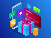 Concept en ligne isométrique d'achats Concept de vente de commerce de marketing en ligne de Digital Les meilleurs présents Illust Photo libre de droits