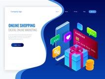 Concept en ligne isométrique d'achats Concept de vente de commerce de marketing en ligne de Digital Les meilleurs présents Illust Photo stock
