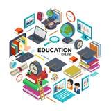 Concept en ligne isométrique de rond d'éducation illustration stock