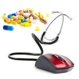 Concept en ligne médical de souris d'ordinateur de stéthoscope Images stock