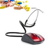 Concept en ligne médical de souris d'ordinateur de stéthoscope Image stock
