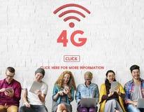 concept en ligne sans fil de réseau de Wifi de la technologie 4G Image libre de droits
