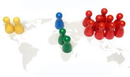 concept en symbool voor het aandeel van de wereldbevolking Stock Foto's