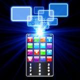 Concept en verre de choix de téléphone Images stock