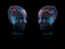 Concept en verre de deux têtes Photographie stock