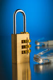 The concept of an encrypted Internet connection. Golden padlock.  Stock Image