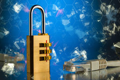 The concept of an encrypted Internet connection. Golden padlock.  Royalty Free Stock Image