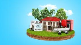 concept energie - het besparingshuis op een lap grond dichtbij hout kookt Stock Foto