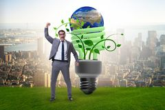 The concept of energy efficiency with lightbulb. Concept of energy efficiency with lightbulb royalty free stock photo